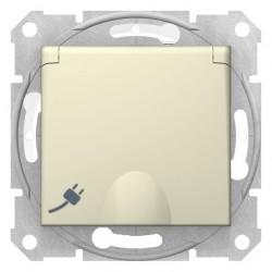 Zásuvka 2P+PE IP44 bezskrútková detské clonky, béžová